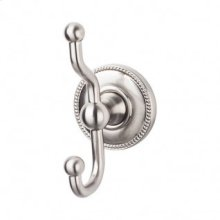 Edwardian Bath Double Hook Beaded Backplate - Brushed Satin Nickel