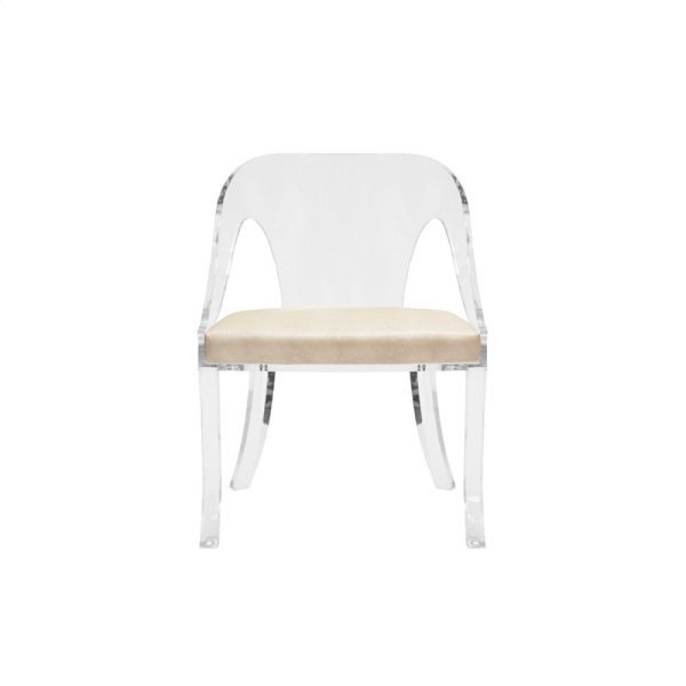 """Round Back Acrylic Chair With Faux Beige Shagreen Cushion Seat Height: 17.5"""""""
