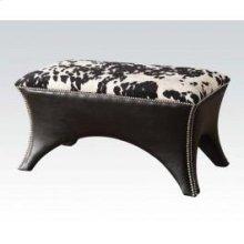 Black Pu Bench W/fabric Seat