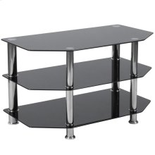 Black Glass TV Stand with Stainless Steel Metal Frame