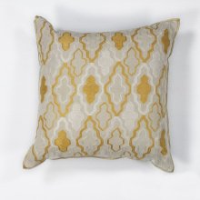 "L132 Ivory/yellow Groove Pillow 18"" X 18"""