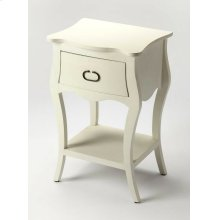 Crafted from Mango wood solids in a white cottage finish; this night stand is perfect for stowing bedside essentials and flanking your master bed in as a pair, this lovely nightstand showcases a single drawer, scalloped apron and lower display shelf.