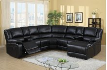 Cadence Black Bonded Leather Reclining Sectional