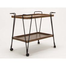 Serving Cart-med Oak/blk Metal