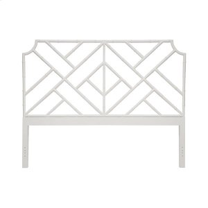 Worlds AwayChippendale Style King Bamboo Headboard In Matte White Lacquer