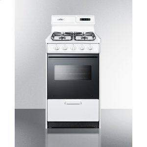 "Summit20"" Wide Gas Range In White With Sealed Burners, Digital Clock/timer, Black Glass Oven Door With Window, Interior Light, and Spark Ignition; Replaces Wnm1307dfk"