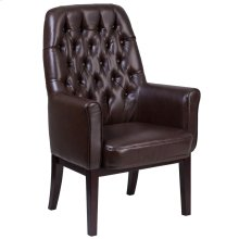 High Back Traditional Tufted Brown Leather Side Reception Chair