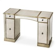This glitzy vanity with antiqued mirrored top, front and sides and complementary pewter trim, makes a strong style statement while providing abundant storage. It offers adjustable shelves behind two doors, two drawers, plus a storage compartment beneath t Product Image
