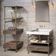 Elemental Storage Set Cement Gray Wood / 24in / Aged Brass