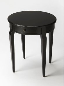 A simple and elegant style with a Black Licorice finish, this side table has a casual style. Crafted from wood solids and veneers, this versatile side table can be used in any room of the house. It features a single working drawer with antique brass finis