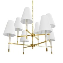 Two Tier Chandelier In Brass and White with Eight White Shades