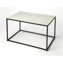 Minimalist modern appeal abounds from this metal and marble coffee table, bringing a stylish accent to your seating arrangement, black iron supports the cool white marble top. Perfect for entertaining, store a couple of short stools under the table for F