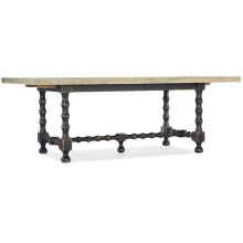 Dining Room Ciao Bella 84in Trestle Table w/ 2-18in Leaves-Flaky White/Black