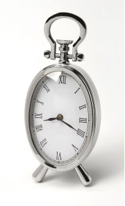 This desk clock is crafted in an oval shape that features Roman numerals over a white face, featuring a kick stand and a sturdy handle. The clock can be placed on any table or shelves , blends with a variety of decor. Makes a great gift. Product Image