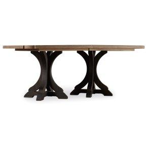 Dining Room Corsica Dark Rectangle Pedestal Dining Table (Dark Base/Light Top)