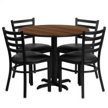 36'' Round Walnut Laminate Table Set with 4 Ladder Back Metal Chairs - Black Vinyl Seat