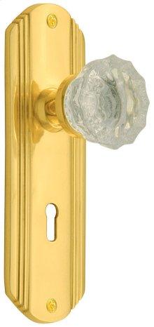 Nostalgic - Single Dummy - Deco Plate with Crystal Knob in Polished Brass
