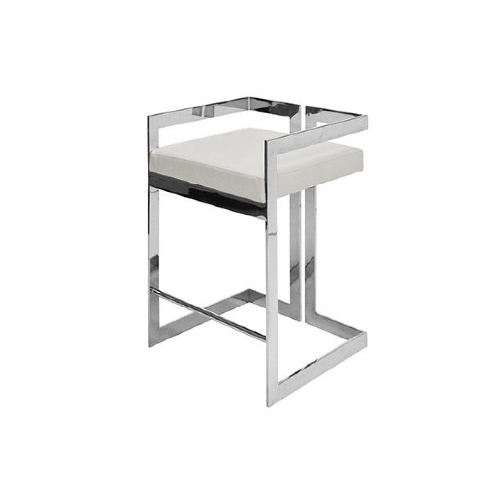 Counter Height Nickel Stool With White Vinyl Cushion - Seat Height: 27""