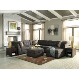 Delta City 3-Pc Sectional RAF Corner Chaise w/ Armless Loveseat and Sofa - Steel Collection