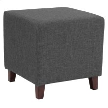 Upholstered Ottoman Pouf in Dark Gray Fabric