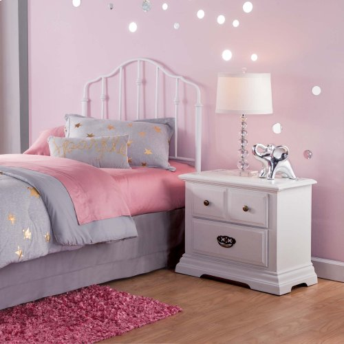 Lorna Kids Metal Headboard with Accented Spindles, Warm White Finish, Twin