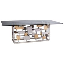 Cityscape Rectangular Dining Table With Glass Top