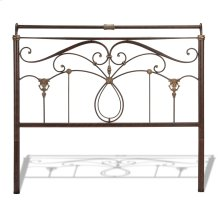 Lucinda Metal Headboard Panel with Intricate Scrollwork and Sleigh-Styled Top Rail, Marbled Russet Finish, Queen