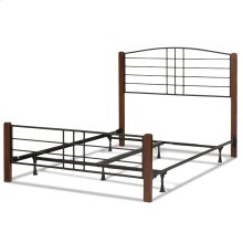 Dayton Complete Metal Bed and Steel Support Frame with Flat Wood Posts and Sloping Top Rail Headboard, Black Grain Finish, Queen