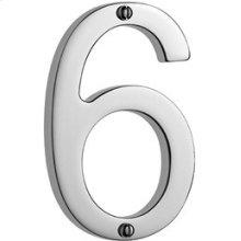 """Antique Brass Unlacquered Door numeral """"6"""""""
