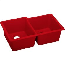 "Elkay Quartz Luxe 33"" x 20-1/2"" x 9-1/2"", Offset Double Bowl Undermount Sink, Maraschino"