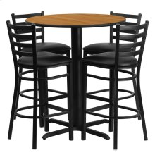 30'' Round Natural Laminate Table Set with 4 Ladder Back Metal Barstools - Black Vinyl Seat