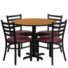 36'' Round Natural Laminate Table Set with 4 Ladder Back Metal Chairs - Burgundy Vinyl Seat