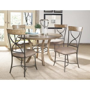 Hillsdale FurnitureCharleston 5pc Round Dining With X Back Chairs All Wood Table With Metal Ring