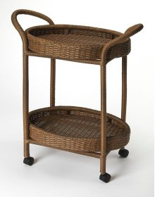This rattan serving cart has a stylish and functional design that makes it a wonderful addition to any home. The perfect complement to your dining room, this serving cart is made from rattan featuring two woven baskets , this serving cart has a neat and