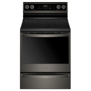 Whirlpool6.4 cu. ft. Smart Freestanding Electric Range with Frozen Bake Technology Fingerprint Resistant Black Stainless