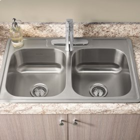Colony 33x22 Double Bowl Kitchen Sink Kit with Faucet and Drain  American Standard - Stainless Steel