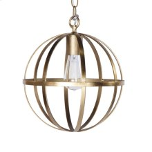 12 Inch Diameter Iron Sphere Pendant In Gold Leaf