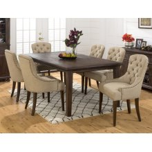 Geneva Hills Rectangle Dining Table With Six Tufted Side Chairs