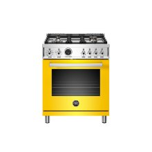 30 inch Dual Fuel Range, 4 Brass Burner, Electric Self-Clean Oven Giallo