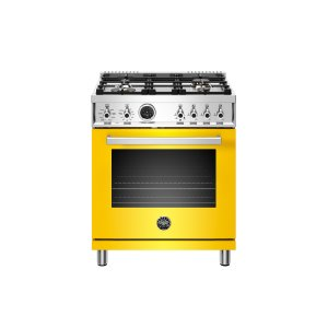 30 inch Dual Fuel Range, 4 Brass Burner, Electric Self-Clean Oven Giallo - GIALLO
