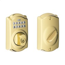 Camelot Trim Keypad Deadbolt - Bright Brass
