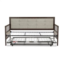 Gotham Metal Daybed with Latte Finished Button-Tufted Upholstery and Trundle Bed Pop-Up Frame, Brushed Copper, Twin