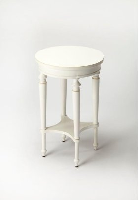 Elegance and versatility make this table a great addition to virtually any space. Featuring a vibrant Cottage White finish, it is crafted from select hardwood solids and wood products with a lower display shelf and a birch veneer top.