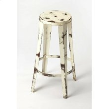 Enhance your kitchen, bar or work space with this rustic industrial barstool. With a round seat, its painted white iron frame is flecked to expose the metal just beneath its surface with hints of oxidation for added character.