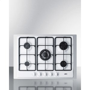 "Summit5-burner Gas Cooktop Made In Italy In White Finish With Sealed Burners, Cast Iron Grates, Wok Stand, and Stainless Steel Frame To Allow Installation In 30"" Wide Counter Openings"