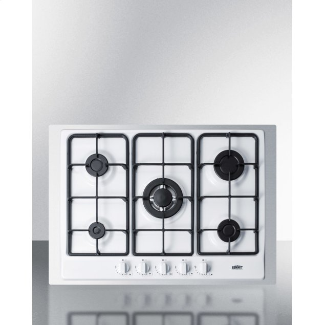 """Summit 5-burner Gas Cooktop Made In Italy In White Finish With Sealed Burners, Cast Iron Grates, Wok Stand, and Stainless Steel Frame To Allow Installation In 30"""" Wide Counter Openings"""