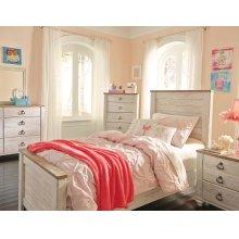 Willowton Twin Panel Bedroom Set: Twin Bed, Nightstand, Dresser & Mirror