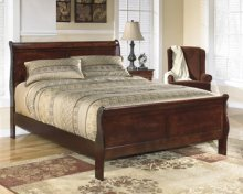 King Brown Cherry Sleigh Bed
