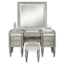 Silver Luxe Mirror Trim Vanity and Stool