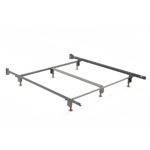 Inst-A-Matic Premium Bed Frame 761G with Headboard Brackets and (6) 2-Piece Glide Legs, Black Finish, Queen